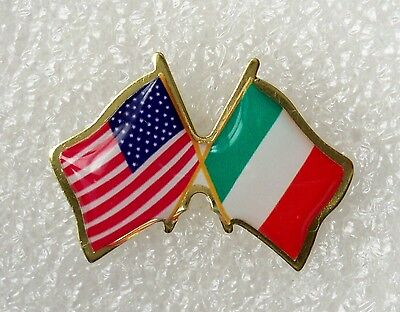 Italian-American,US and Italy crossed flags lapel pin, made in -