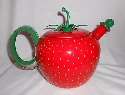 Strawberry Shaped Tea Pot Metal Enamel Red Painted Seeds Green Stem 3 pcs