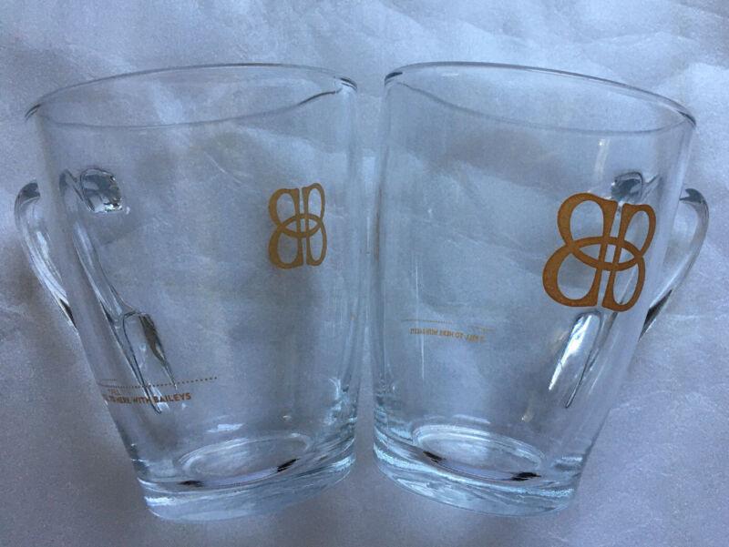 Set of 2 BAILEYS Irish Cream Liqueur Glass Coffee Mug/Cup - Gold Logo