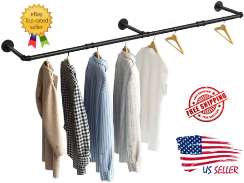 """Industrial Pipe Clothing Rack 73"""" Hanging Rod Clothes Rail DIY Wall Mounted"""