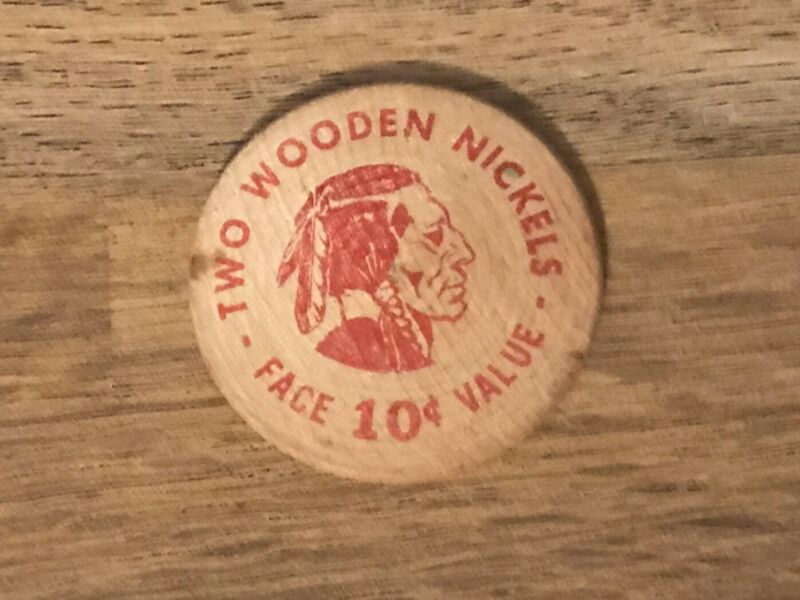 Vintage 10 Cent 2 Wooden Nickels Face Value 1957