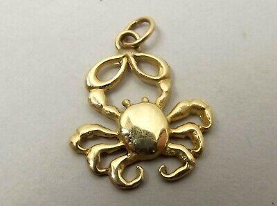 Vtg 14K Gold Crab Pendant Figural Ornate Cancer Astrology Sea Nautical Animal 14k Gold Cancer Crab