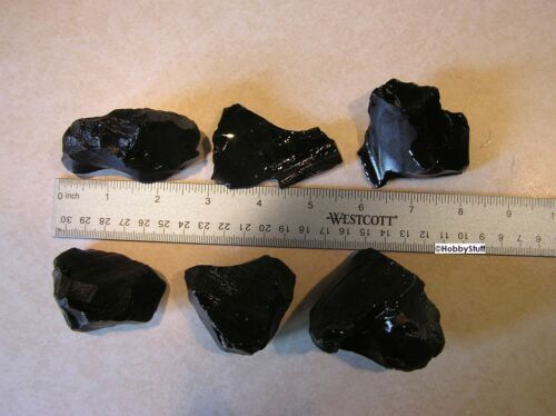 Black Obsidian Mexico Volcanic Glass Rough Rock Jewelry Tumbling 1/4 lb ~~~~~A17