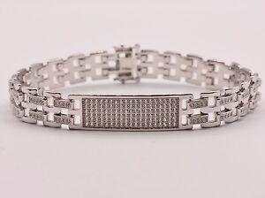 Men's Clear CZ Rolex Chain ID Link Bracelet Sterling Silver 925 White 8.5