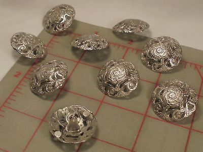 5 Fine Italian Metal Shank Buttons Flowing Floral Filigree Large Silver 1