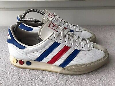 Adidas Mens Kegler Super 2008 Leather Trainers Team GB White Blue Red Size UK 7