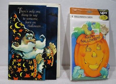 Halloween Birthday Greetings (6 Happy Halloween Hallmark Greeting Cards  & 1 Halloween  Birthday)