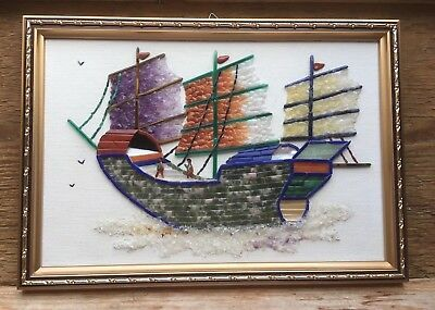 Singapore Made Vintage Ship Picture Made Of Natural Gemstones/Agates Art/Retro