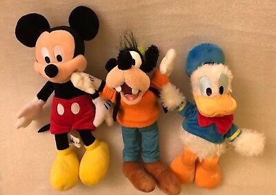 Authentic Disney Parks Mickey, Goofy, Donald Duck Plush Lot of 3