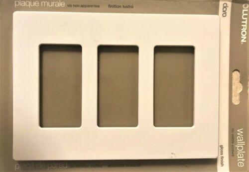 Lutron Claro Wallplate Gloss White 3 Gang CW-3-WH No Visible Screws Cover