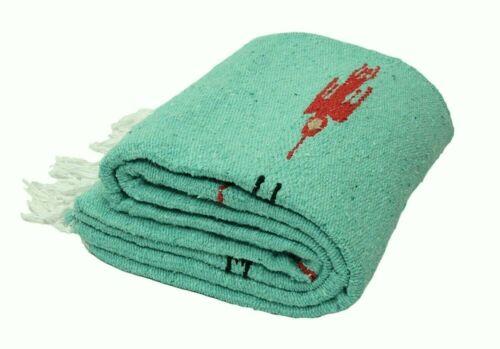 Mint Mexican Yoga Blanket Thunderbird Traditional Southwest Serape Falsa Throw