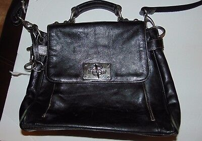 Flap Tote Handbag - Fossil Black leather executive flap tote handbag ZB2483