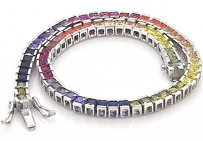 925 Sterling Silver Rainbow MultiColor Princes Sapphire Tennis 7 3/4in Bracelet