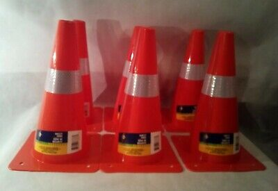 6 Pcs Traffic Cones 12 Orange Fluorescent Reflective Road Safety Parking Cones