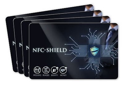 4x NFC Shield Card - RFID & NFC Schutz / Blocker Karte für EC & Kreditkarten