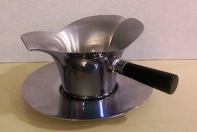 "Vintage Chase ""Lotus"" Sauce Bowl, with Saucer, Black Bakelite Handle, 1930s-40s"