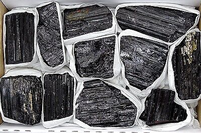 BULK NATURALLY FORMED BLACK TOURMALINE LOGS - 10-15 PCS. - 1.75- 1.9 LBS.