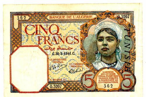 Tunisia ... P-8b ... 5 Francs ... 30.5.1941 ... * CHOICE VF-XF *