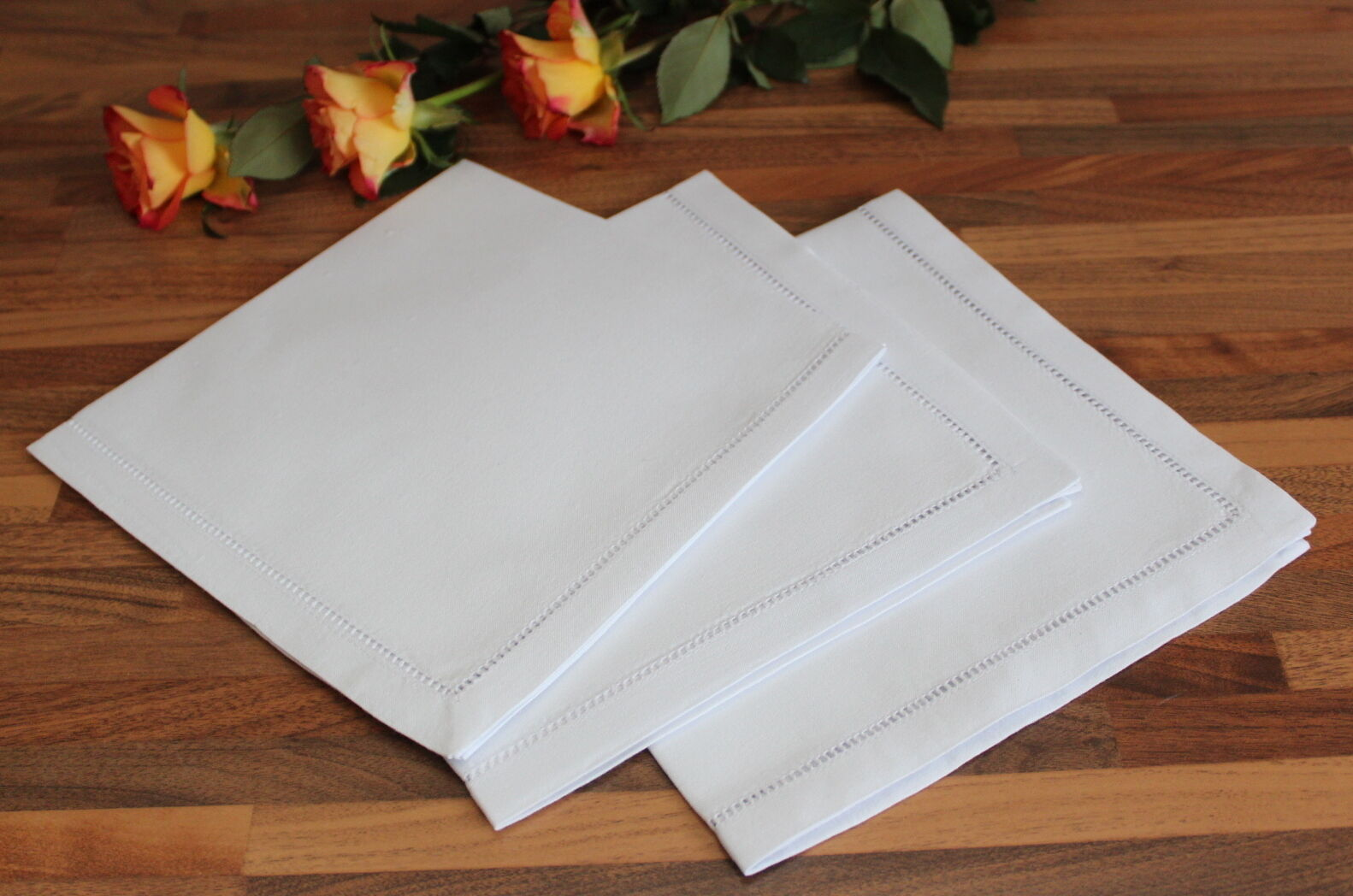 Napkins Set 100% Cotton Dining Napkins - Hemstitch Table Linen Cloth White