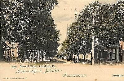 1901 1907 Hand Colored Postcard  Second Street  Clearfield Pa  Posted