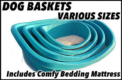 Heavy Duty Plastic Dog Bed (Basket) & Deluxe Bedding - SMALL 48CM