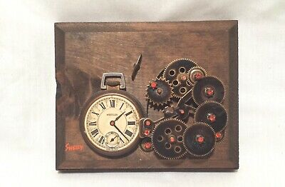 Shelly 3 Dimensional Collages Deconstructed Westclox Pocket Watch Gears on Wood