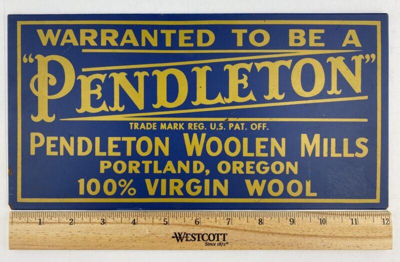 Pendleton Woolen Mills Store Advertising Sign Blue Gold Vintage