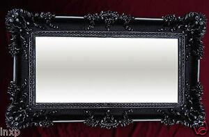 Miroir mural rectangulaire noir argent dual baroque - Miroir baroque noir rectangulaire ...