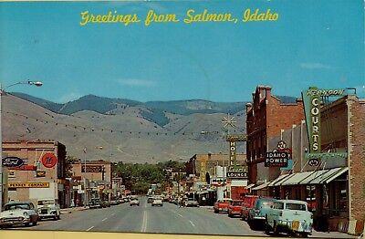 Vtg Greetings From Salmon Idaho Street Scene Old Cars Mobil Ford Power Postcard