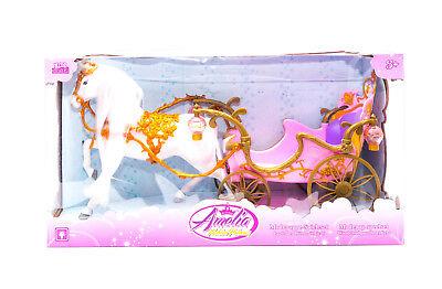 Amelia Prinzessin / Prinzessinnen Kutsche mit Beleuchtung und Puppenpferd NEU