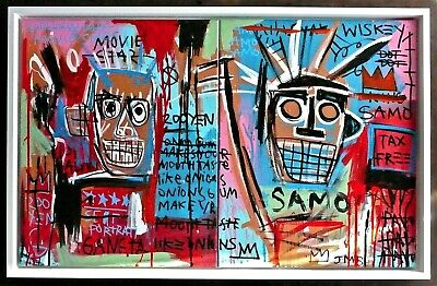 JEAN MICHEL BASQUIAT A 1980s ORIGINAL ACRYLIC PAINTING ON CANVAS, SIGNED