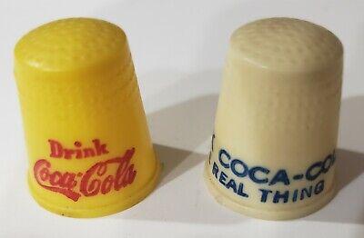 Lot Of 2 Vintage Drink Coca Cola Coke Yellow White Plastic Advertising Thimbles