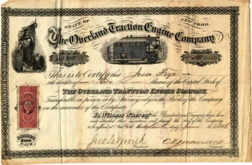 A Scarce 1866 Overland Traction Engine Company New York Stock Certificate  VF/XF