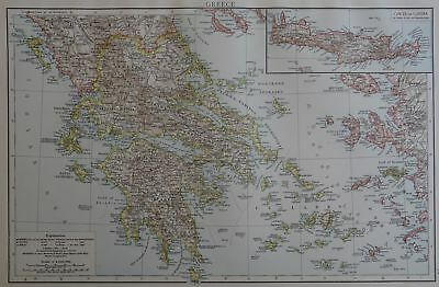 Victorian Map 1896 of GREECE The Times Atlas 1st Gen