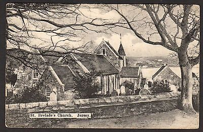 POSTCARD ST BRELADE'S CHURCH JERSEY - UNUSED - EARLY
