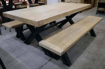 Recycled Timber Metal French Industrial Dining Table Bench Seat