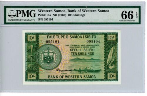 Western Samoa ... P-13a ... 10 Shillings ... ND(1963) ... *Gem UNC* . PMG 66 EPQ