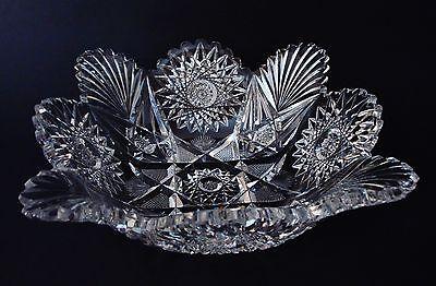 "19th Century American Brilliant Period (ABP) 9"" L x 9"" W  x 3"" D Cut Glass BOWL"