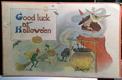 Pumpkin Halloween Cooking (Elves, Witch Cooking, HALLOWEEN Post Card 1920 Pumpkin Head Child, BAT, CAT,)