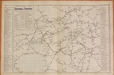 1891 LARGE VICTORIAN MAP -  NEW RAILWAY MAP OF LONDON & SUBURBS