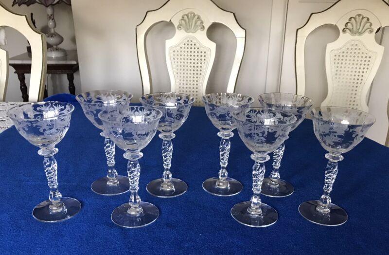 8- FOSTORIA  ETCHED- Classy,Elegant -Glassware -Liquor /cocktail -Stemware