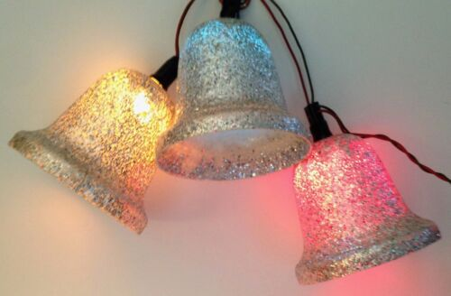 Vintage Christmas Ringalite SILVER BELLS Lighted C7 Set of 3 Glitter 4.5 Inches