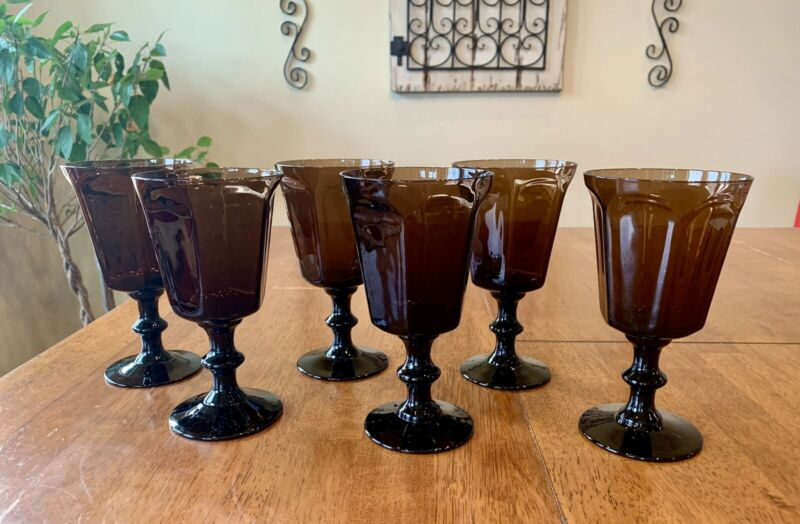 "Lenox Antique Pattern Brown Water Wine Glasses 6 5/8"" Set of 6"