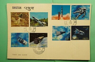 DR WHO 1970 BHUTAN FDC SPACE 3-D IMPERF COMBO  Lg11394