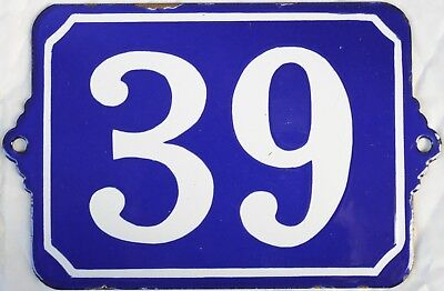 Large old blue French house number 39 door gate plate enamel steel metal sign