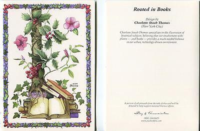 (BOTANICAL IVY HOLLY BERRY CLIMBING VINES TREE SURREAL FLOWER BOOKS ART NOTE CARD)