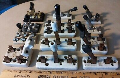 Vintage Lot Of 12 White Porcelain Copper Other Knife Switches