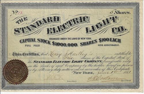 MISSOURI 1881 The Standard Electric Light Company Stock Certificate #12