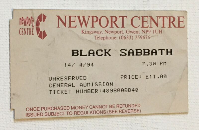 Black Sabbath 1994 Concert Ticket Stub Gwent