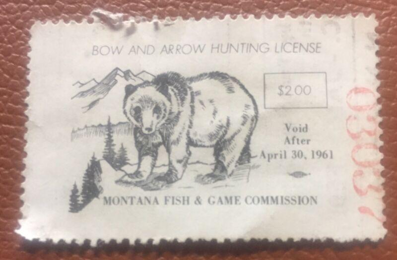 1960 1961 Montana Archery Hunting Stamp Grizzly Bear Original Rare